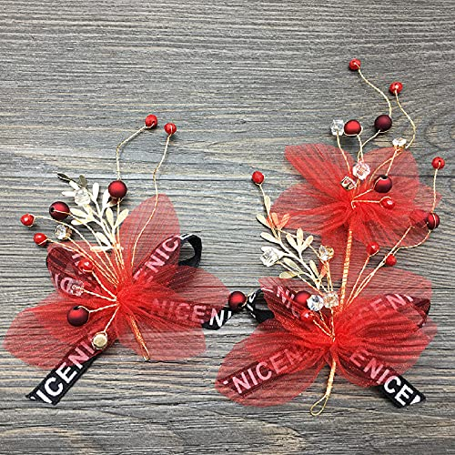 Ksnrang Novia Tocado de Boda Grande Rojo Plegado de Malla Clip combinación...