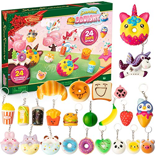 JOYIN Christmas 24 Days Countdown Advent Calendar with 24 Scented Slow-Rising Squishies Keychains Assorted Xmas Party Favor Gifts for Boys, Girls, Kids and Toddlers