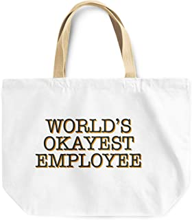Loud Universe Worlds Okayest Employee Funny Office Decor Reusable Tote Bag, 30 x 30 x 10 cm, Multicolor