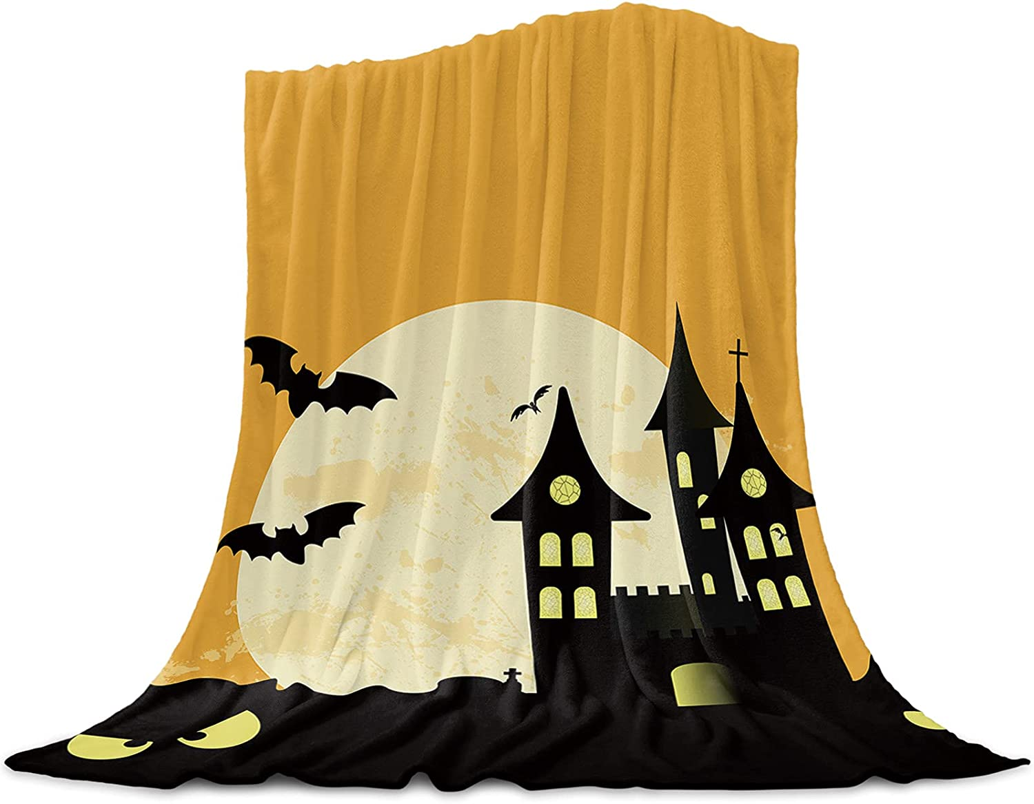 applebless Outlet sale feature Fleece Throw Manufacturer regenerated product Blanket Full Theme Castle Moon Halloween