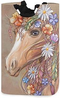Tête de cheval Fleurs Panier à linge Panier à linge Sac de vêtements sales Plumes de hippie Seau pliable Poubelle à laver ...