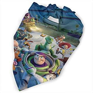 Dog Bandana, Film Kids Toy Story Pure Soft Cotton Kerchief Set Accessaries for Dogs Cats Pets, Size:side-18