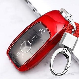 ontto Smart Autoschlüssel Hülle Abdeckung für Mercedes E Klasse W213 E200 E300 S Klasse 2017 2019 TPU Schutzhülle Schlüsselschutz mit Schlüsselanhänger Schutz Etui für Fernbedienung 3 4 Taste Rot