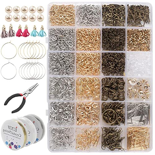 Kit de fabricación de joyas de 3000 piezas con anillos de salto de tornillo de ojo de alfiler de cabeza de langosta cierres de garra de langosta ganchos alicates Kit de fabricación de joyas de resina