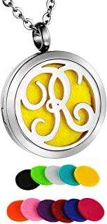 Monogram Aromatherapy Essential Oil Diffuser Necklace A to Z Letter Locket Pendant with 24