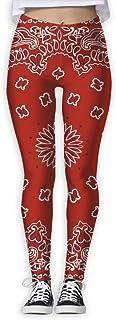 Nuo Beike Red Bandana Pattern Women's Funny Print Yoga Leggings Pants Exercise Capri Leggings Workout Pants Gym Tights