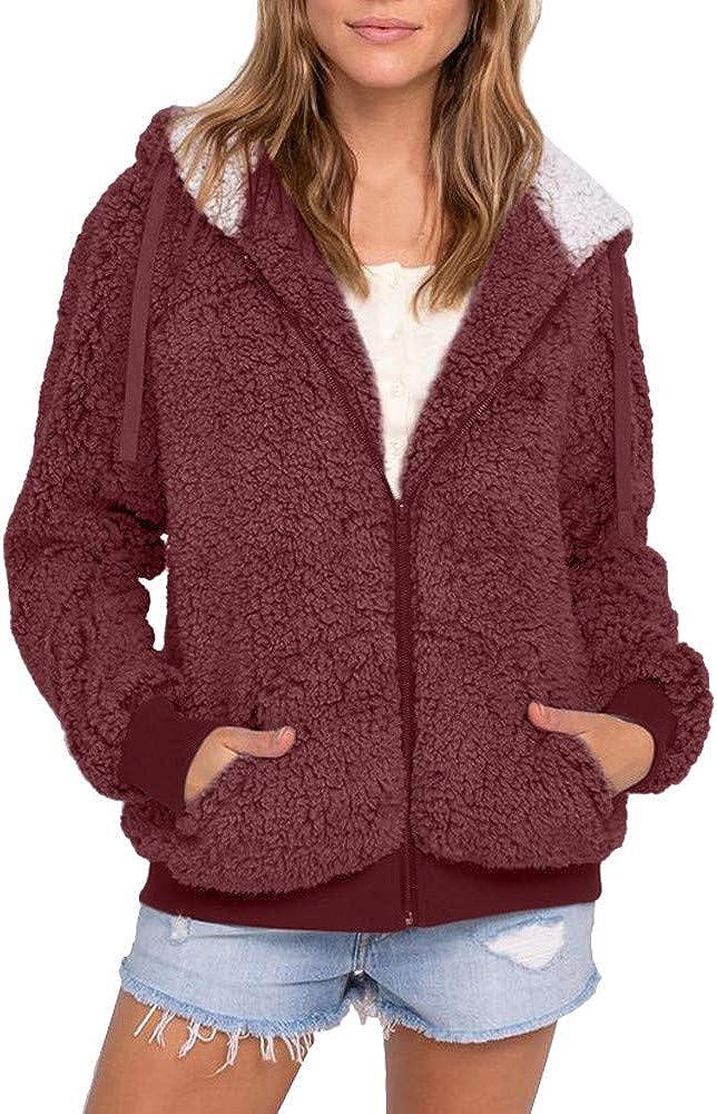 Women's Coat Casual Hooded Fleece Faux Fuzzy Warm Zipper Recommended Pocket Ranking TOP9