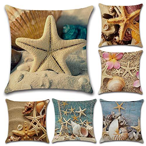 HuifengS Lino copriletto Cuscino Copre Piazza Federa Decorativo per divani sedie Cuscino Gufo Animale del Fumetto, 45 x 45 cm, 6 Pack