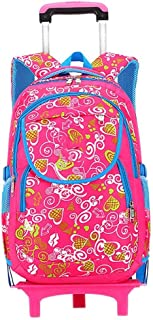 ASdf Girls Backpack Junior High School Students Trolley Bag Climbing Stairs Three-Wheel Disassembly Burden Reduction Bag Trolley Bag (Color : Pink)