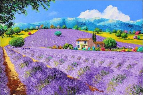 Posterlounge Acrylglasbild 30 x 20 cm: Lavendel unter Sonnenschein von Jean-Marc Janiaczyk/MGL Licensing - Wandbild, Acryl Glasbild, Druck auf Acryl Glas Bild