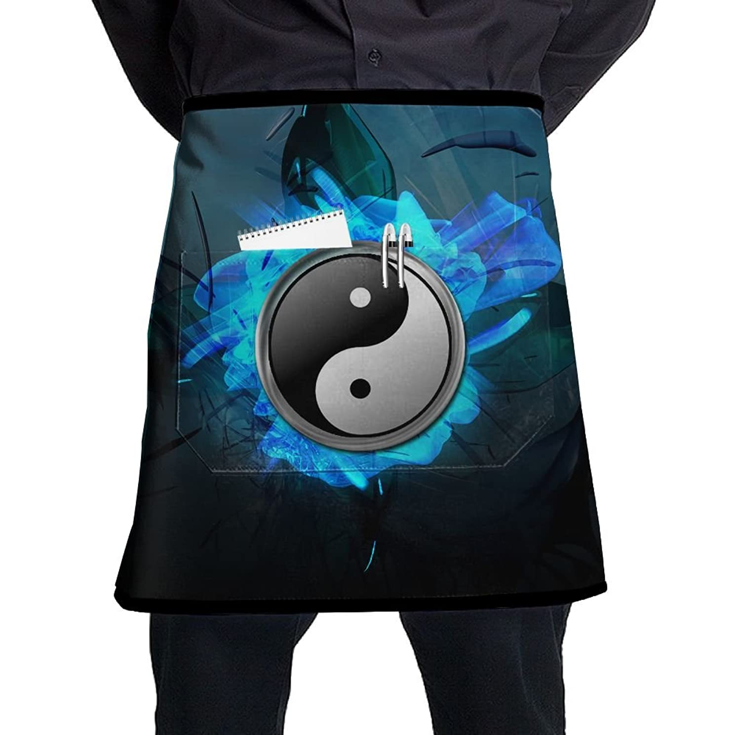 Yin Yang Ball Chef Aprons Mens Womens Waist Tie Half Bistro Apron With 2 Pockets For Home Kitchen Cooking