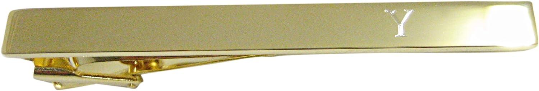 Gold Toned Etched Letter Y Monogram Square Tie Clip
