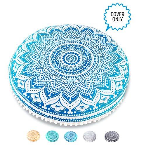 Mandala Life ART Yoga Decor Floor Cushion Cover - Round Meditation Pillow Case - Hand Printed Organic Cotton Pouf