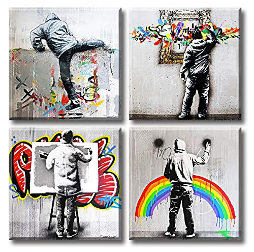 Banksy Street Graffiti Art Wall Decor Pop Art Colorful Paintings Canvas Prints Modern Artwork for Living Room Bedroom Office 12'W x 12'H x 4 Panel Stretched and Framed Ready toHang