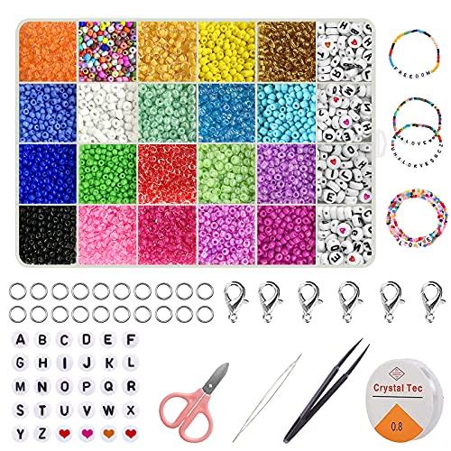Cuentas de Colores 3mm , 10320 Piezas Abalorios para Hacer Pulseras con Cuentas Letras , Cuentas para Hacer Pulseras Adultos , Cuentas de Vidrio Kit para Hacer Pulseras con Tijeras, Pinzas, Aguja