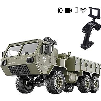 Camion Telecommande Hors Route RC Militaire Camion Rock Crawler Arm/ée Voiture Blue Tosbess RC Car Jouet T/él/écommande Voiture pour Enfant