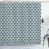 ABAKUHAUS Volkskunst Duschvorhang, Eco Hygge Blumen-Muster, Klare Farben aus Stoff inkl.12 Haken Farbfest Schimmel & Wasser Resistent, 175x220 cm, Schiefer-Blau & Weiß
