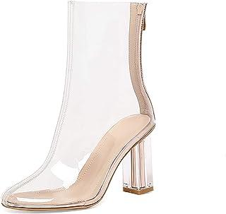 LotusTextile Botas Altas Mujer, Botas Mujer Transparentes, Zapatos De Mujer De Tacones Altos Cuadrados con Cremallera En P...