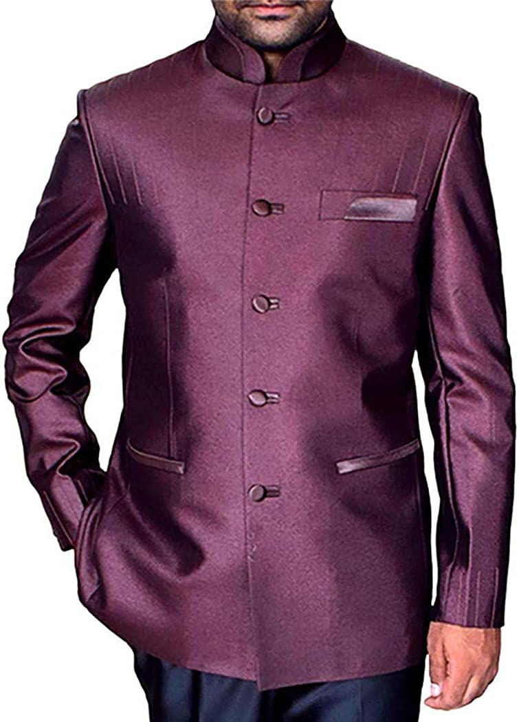 INMONARCH Mens Pink Indian Nehru Collar Suit Traditional 5 Button NS988