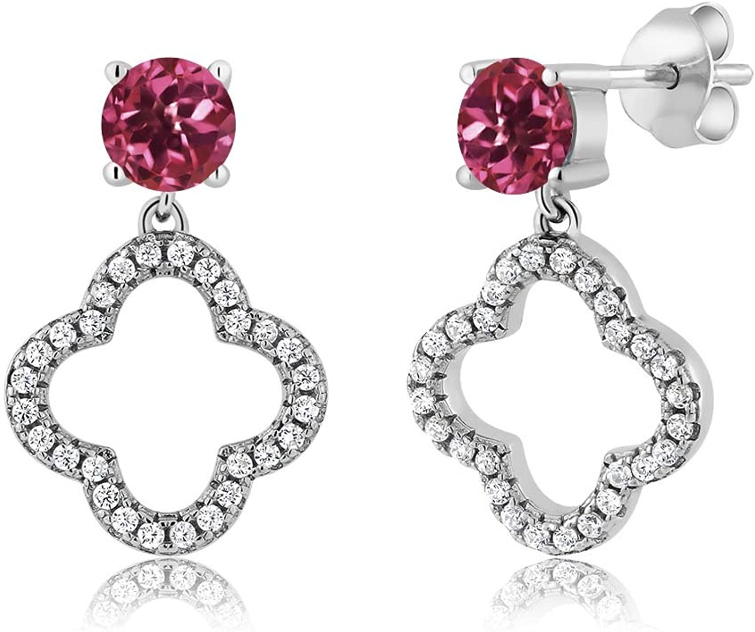 1.67 Ct Round Pink Tourmaline 925 Sterling Silver Dangle Earrings