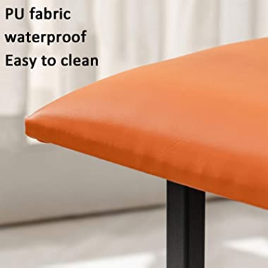 LIXIONG Ottoman, Faux Leather Cube Footrest Stool with Faux Leather Cover and Metal Frame Shoes Bench for Bedroom Living Room
