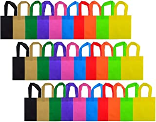 Wobe 30 Pack Party Favor Gift Bags with Handles, 10 Colors 8x8 Non-Woven Tote Bags Treat Bags for Christmas Party Favor Gifts 8 by 8 Inches Polyester for Kids Birthday Snacks Delivery Bag