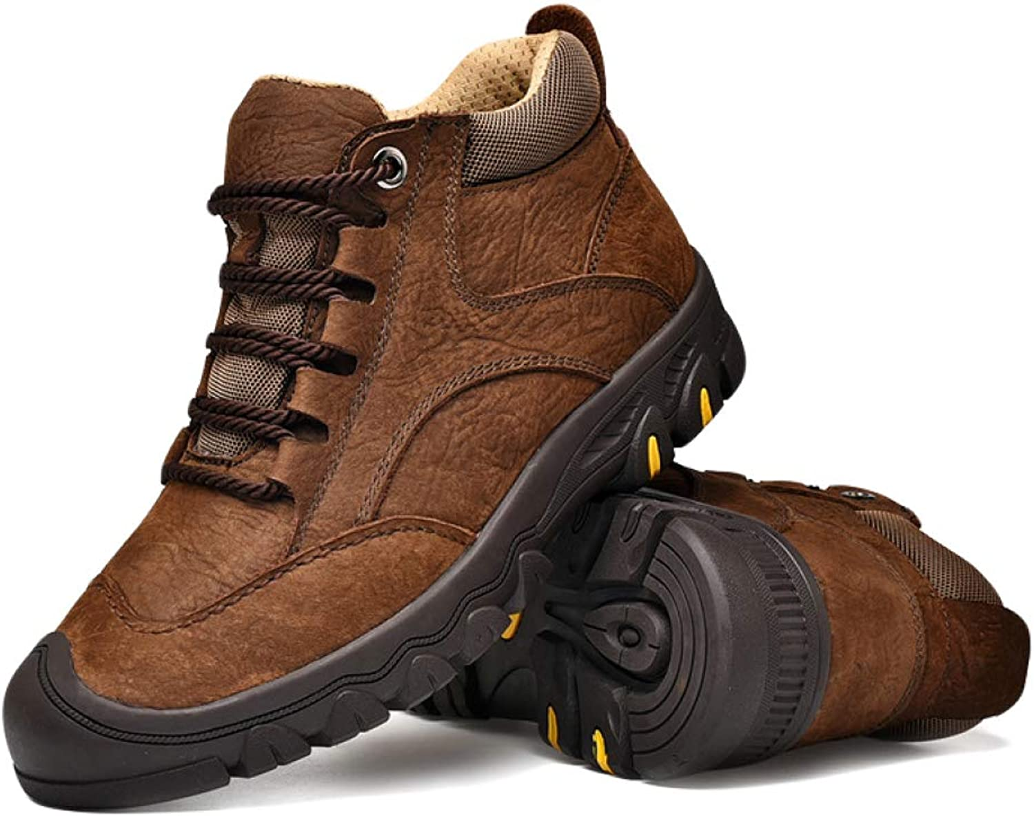 DSFGHE Mens Boots Chukka Booties Leisure Work Boots Non-Slip Hiking shoes Plus Velvet Motorcycle Boots