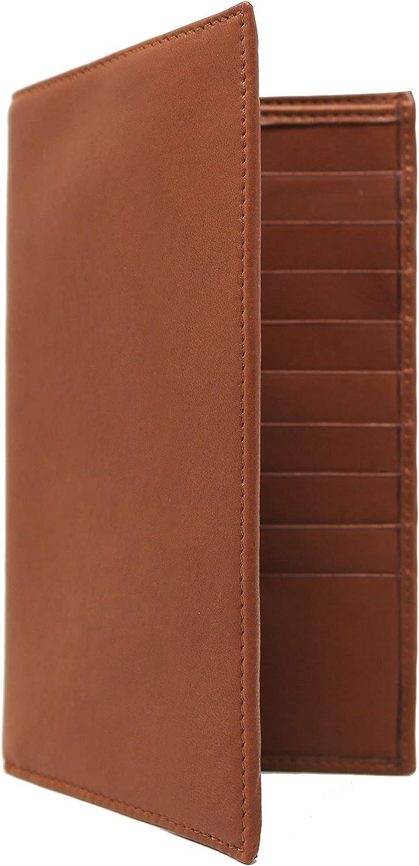 Floto Firenze Italian Napa Lambskin Leather Checkbook Wallet (Tan Brown)