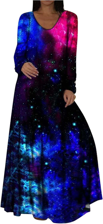 Women Long Sleeve Loose Floral Bohemian Empire Waist Fluttering Maxi Dresses Casual Long Dresses Elegant Beach Sundress