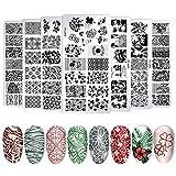 Juego de placas de estampación para uñas, 8 placas de acero inoxidable con motivos variados, kit de estampado para Nail Art