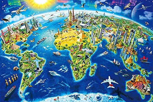 Mapa de monumentos del Mundo Puzzles de 4000 Piezas para Adultos Madera para niños Piezas Grandes 148 * 105 cm