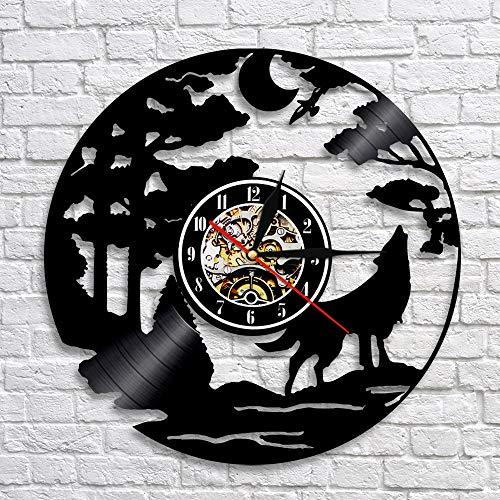 BFMBCHDJ Kreative Tier Wolf Vinyl Schallplatte Wanduhr Vinyl Home Wand Schlafzimmer Wohnzimmer Dekorative Uhr A3 Mit LED 12 Zoll