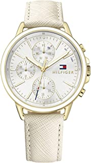 Tommy Hilfiger 1781790 Womens Quartz Watch, Analog Display and Leather Strap, Silver