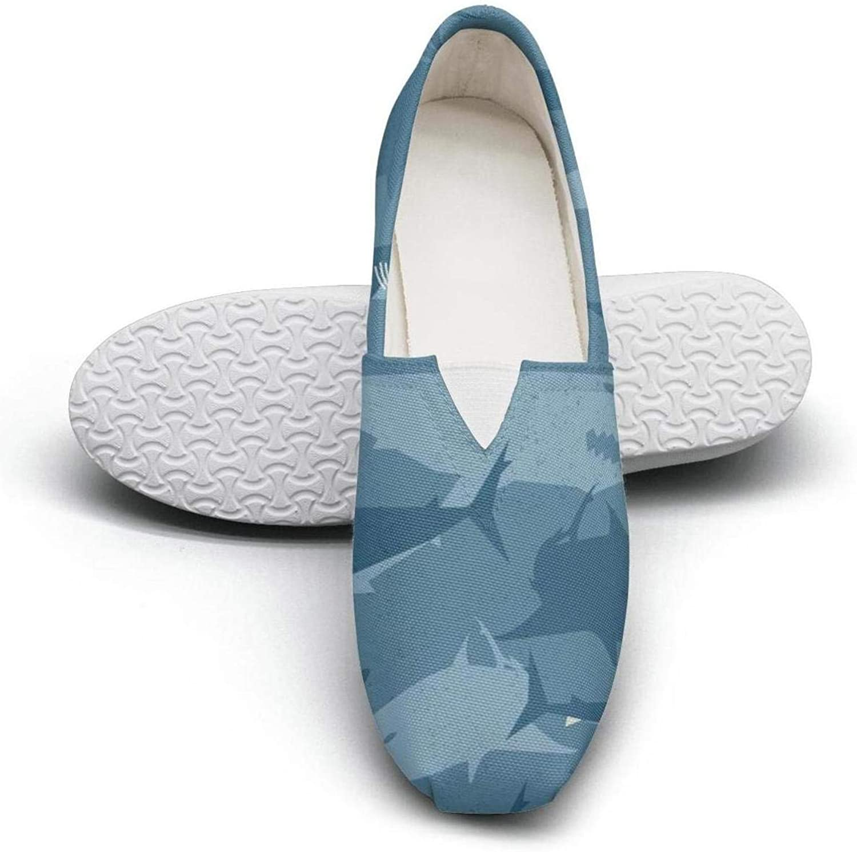 Rainbow colorful Sharks Seasonal Classics Women's Comfort Flat Walking Sneakers Ladies Espadrille Flats