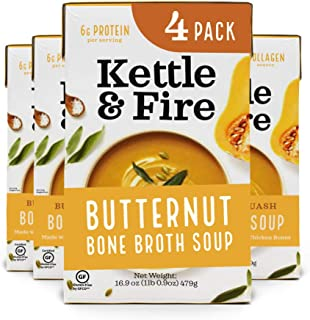 Butternut Squash Chicken Bone Broth Soup by Kettle and Fire, Pack of 4, Gluten Free Collagen Soup on the Go, Paleo, 9 g of...