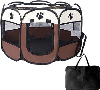 ペットサークル 折りたたみ 犬 猫 兼用 八角形 プレイサークル 猫の分娩室 メッシュ屋根付き 屋内 屋外 収納バッグ付き (M)