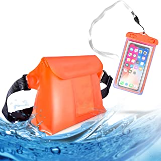 MCleanPin Waterproof Fanny Pack for Swimming, Universal Waterproof Phone Pouch & Dry Bag with Waist Strap & 2 Inner Pockets, Double Protection for Boating, Kayaking,Snorkeling,Fising, Black Orange