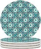 Posavasos de cerámica verde azulado Posavasos de bebida con patrón de celosía árabe clásico para sala de estar, cocina u oficina