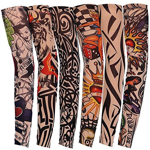 JUNGEN 6 Pcs Tatuaje Mangas Falsas Novedad Rock Temporal Tatuaje Brazo Medias Mangas 45 cm Disfraces de Disfraces