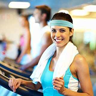 MOGOI Workout Headbands for Women Men, Super Absorbent Elastic Sweat Headbands, Moisture Wicking Sweatband Hairband for Sports Fitness Yoga & Bike Helmet,Light Green