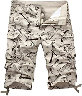 Mens Sport Cargo Shorts Casual Loose Printing Trunks Sweatpants Pants Summer Wind Overalls Trousers with Pockets Beige