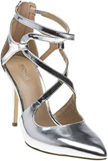 MICHAEL Michael Kors Women Catia Patent Leather Pumps (8.5 M, Silver)
