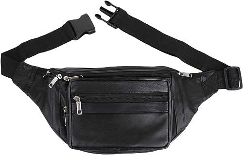 K London Stylish Real Leather Black Waist Bag Elegant Style Travel Pouch Passport Holder with Adjustable Strap(1446_Black) product image
