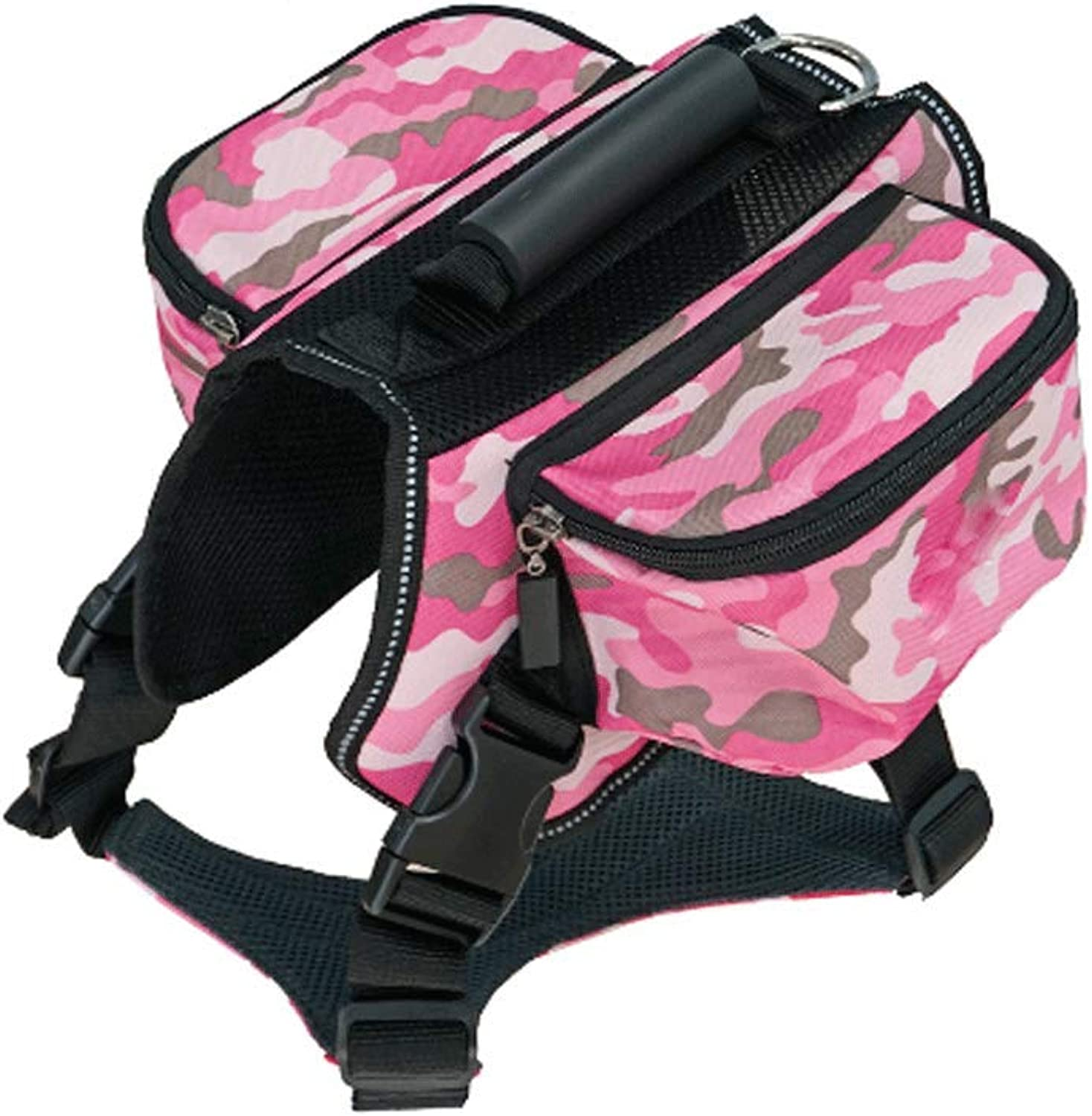 GJ Pet Out Travel Camouflage From Backpack Large Dog Outdoor Self Bag Shoulder Tow Backpack (color   Pink camouflage, Size   Xl)