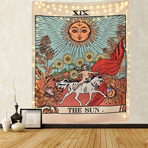 Likiyol Tarot Tapestry Sun Tapestry Wall Hanging Mysterious Medieval Europe Divination Tapestries for Room (70.9 x 92.8 inches)…