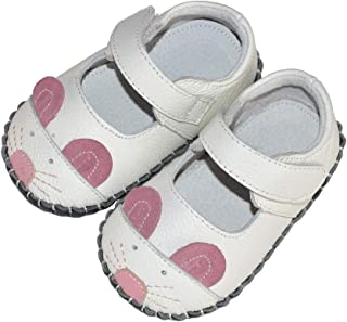 SandQ baby Girls White Mouse Soft Sole Leather Shoe