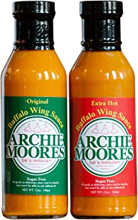 Archie Moore's Original and Extra Hot Sugar-Free Buffalo Sauce for Chicken Wings (Combo Pack), Low Carb, Keto Diet Friendly for Grilled Chicken and Buffalo Wings - You'll Never Go Without It Again