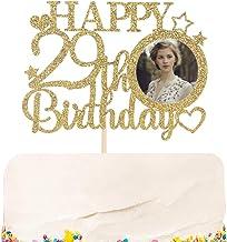 Halodete Glitter Happy 29th Birthday Cake Topper with Photo Frame - Hello Twenty nine - 29th Birthday Party cake decoratio...