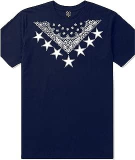 CaliDesign Mens Navy Bandana Urban Wear T Shirt South Central LA NY 13 C Walk Crip Flag Tee