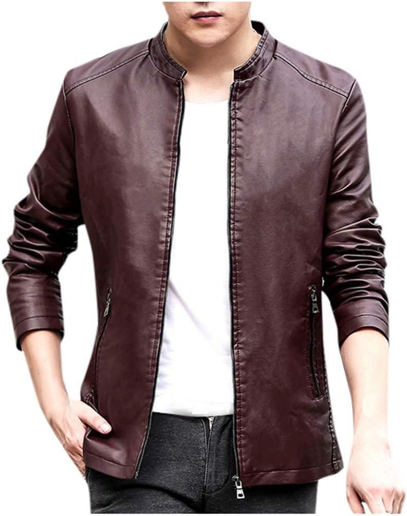 Binggong Chaqueta de piel para hombre, chaqueta corta, chaqueta de motorista, chaqueta de entretiempo con cuello alto, chaqueta bomber casual para hombre, chaqueta cortavientos large Wein13